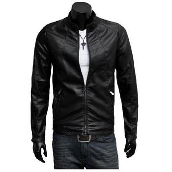 Men's Slim Stand Collar Locomotive Leather Jacket Fleece Black Male Autumn Winter Warm casual fashion PU Leather clothing