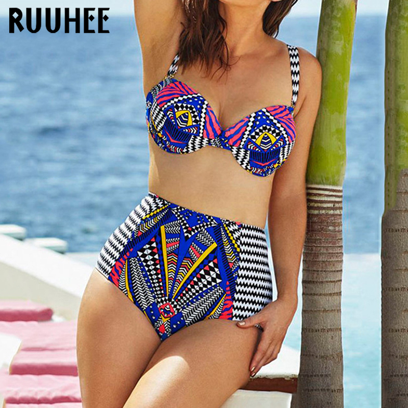 RUUHEE 2017 Plus Size Swimwear Women Bikini Set Sexy Printed Push Up Bikinis Maillot De Bain Biquini Beach Swimsuit Bathing XXXL hot sale plus size bikini 2017 new sexy swimwear women swimsuit large size bikini set maillot de bain push up bra swimsuit