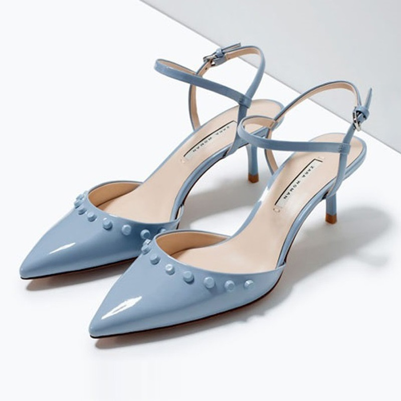 ФОТО 2017 Fashion Rivet Blue Patent Leather Sexy Women Sandals High Heels Ladies Pumps Shoes Woman Summer Style Chaussure Femme Red