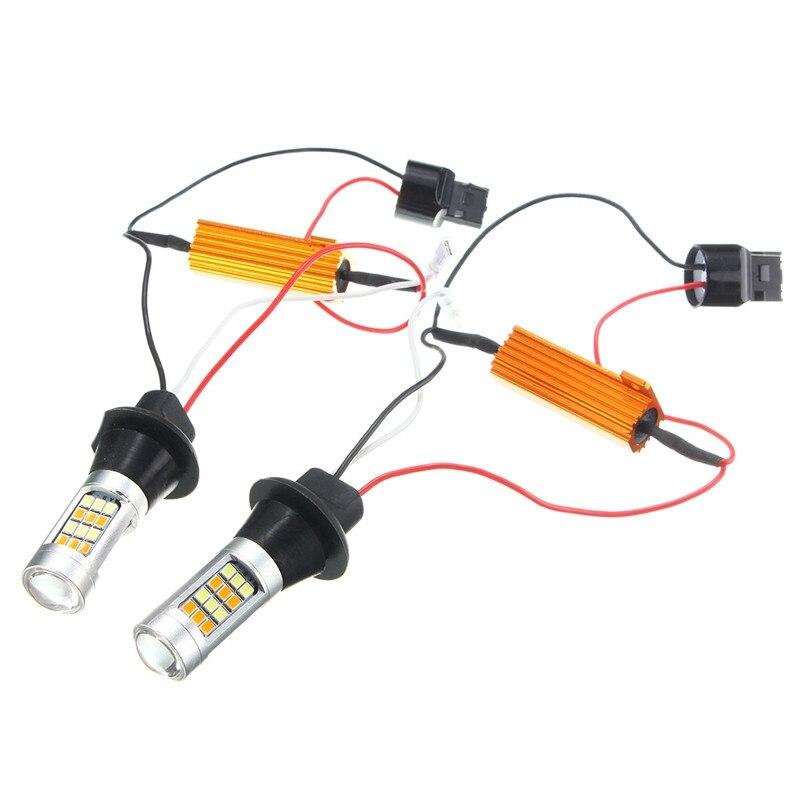 2x7443 2835 42 SMD 1000LM 20 W T20 Car LED Light Dual colore Switchback Segnale di Girata Lampadina Luce Corrente di giorno DRL DC 12-24 V
