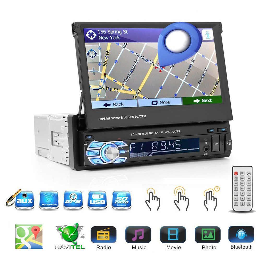 """Podofo 7 """"Android のミラーリンク車ラジオ MP5 プレーヤー Bluetooth GPS DVD AUX-IN/FM Autoradio マルチメディアユニバーサルオーディオステレオ"""