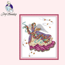 Набор для вышивки joy sunday фиолетовый ангел крестиком узоры
