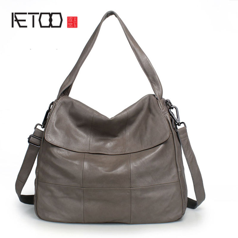 AETOO Leather bag large bag new large-capacity bag simple ladies handbag head layer cowhide shoulder bag aetoo boston first layer of leather ladies handbag bag fashion simple simple large capacity handbags shoulder messenger bag