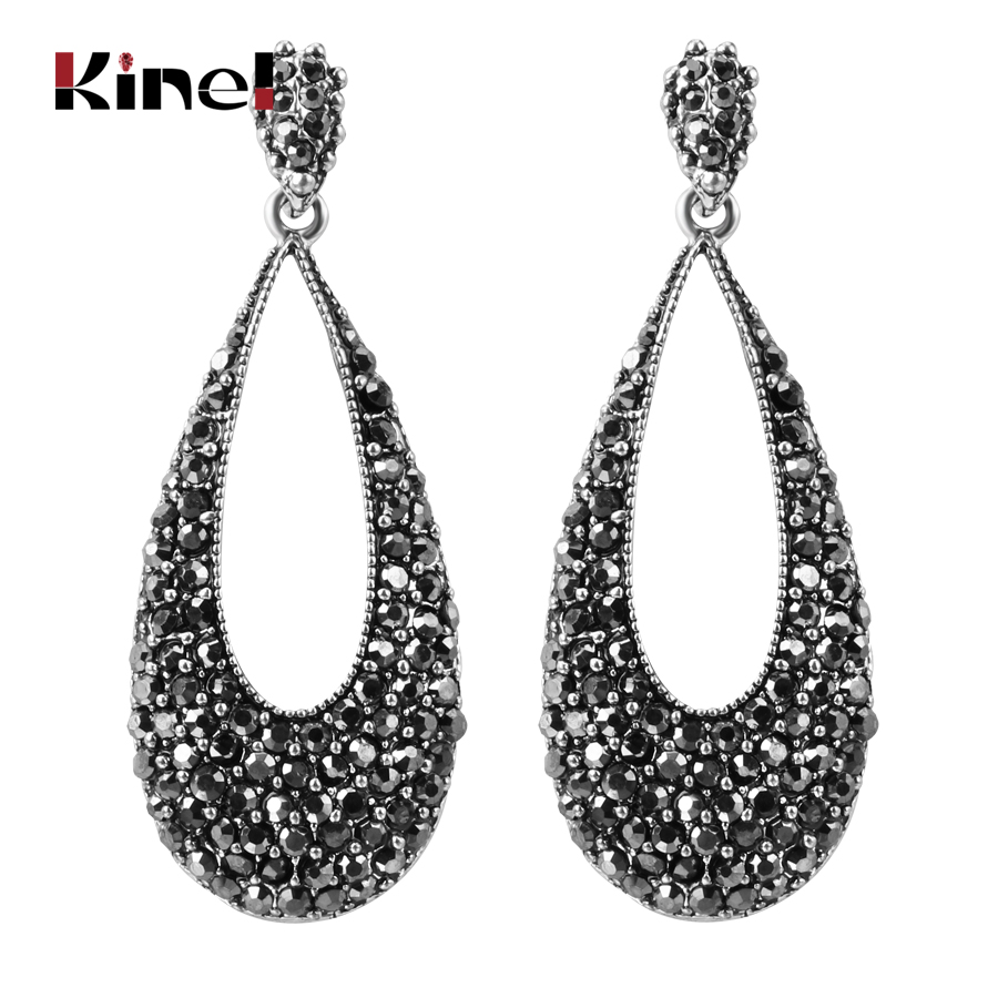 Kinel Luxury Bright Black Crystal Drop Earrings For Women Antique Silver Punk Party Accessories Charm Vintage Jewelry