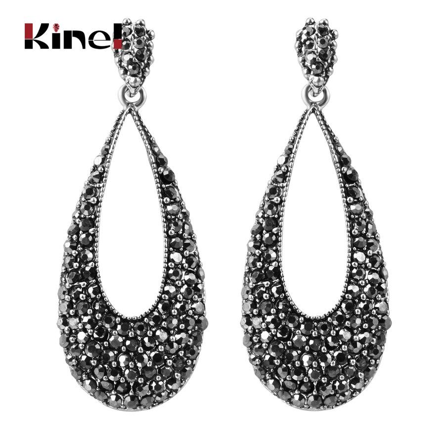 5a4cb81e5e7a Pendientes de gota de cristal negro brillante de lujo Kinel para las  mujeres de plata antigua Punk accesorios de fiesta pendientes de joyería  Vintage