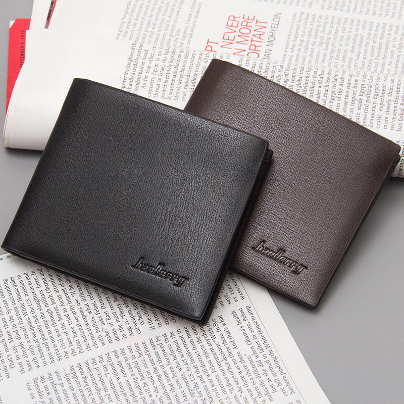 Casual Baellerry Simple Men Slim Short Wallet Coin Purses Male PU Leather Billfold Money Pocket Credit Card Holder Clips Cuzdan male leather casual short design wallet card holder pocket