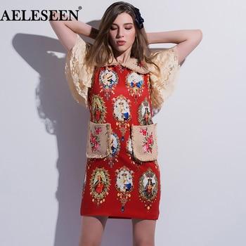 AELESEEN Designer Dresses Women 2018 High Quality Luxury Fashion Short Sleeve Print Red/Black Print & Embroidery Patchwork Dress