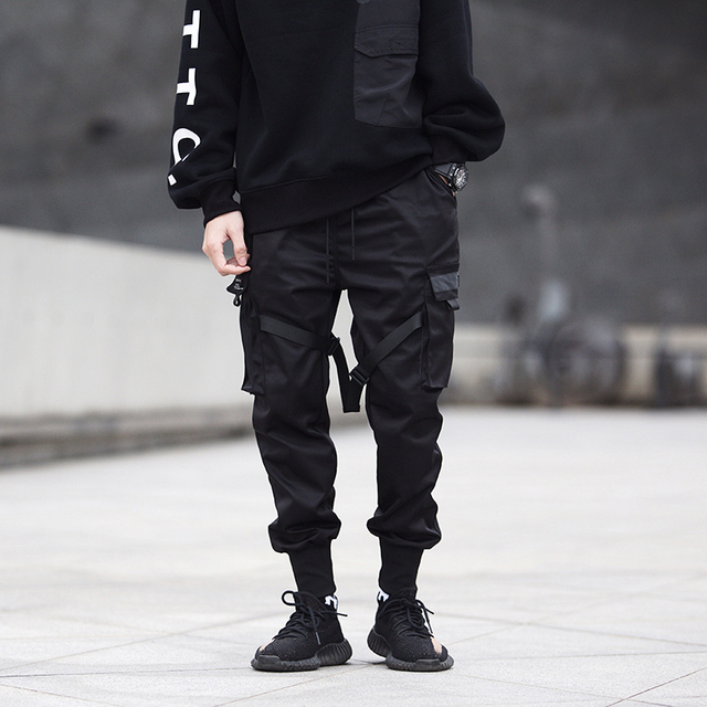 Men Ribbons Color Block Black Pocket Cargo Sweatpant Hip Hop Trousers 3