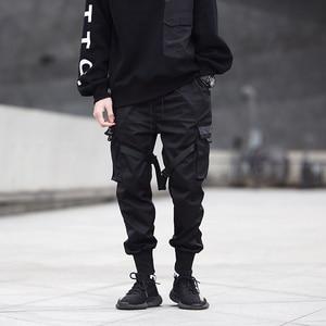 Image 4 - Men Ribbons Color Block Black Pocket Cargo Pants 2019 Harem Joggers Harajuku Sweatpant Hip Hop Trousers