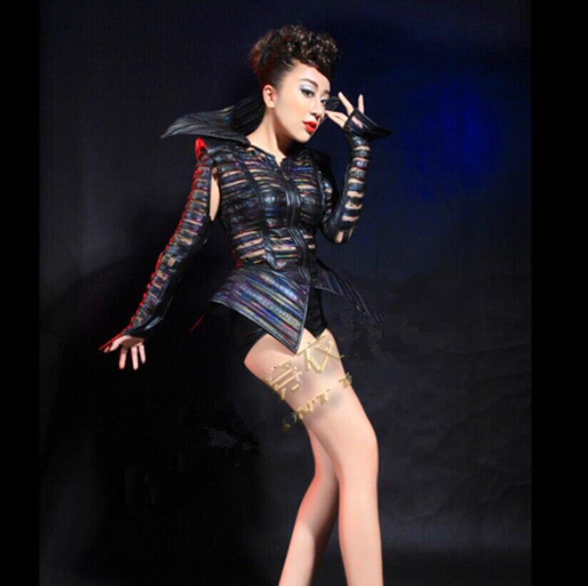 2016 nuovo arriva donne di modo nero sexy vestito di pelle Femminile cantante di nightclub stage di usura dj costume performace spettacolo vestiti