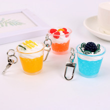 Imitation ice Cream Key chain Resin Pendant  Woman Bag Fruit Strawberry lemon Grape Key chains Creative Handbag Key Ring купить недорого в Москве