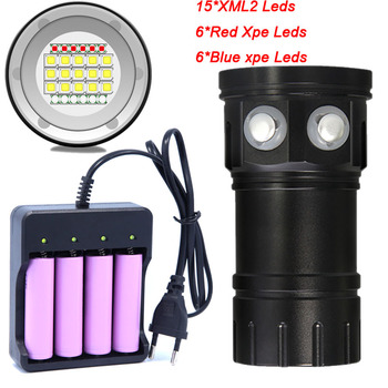 Diving Flashlight 18650 Torch Underwater Photography Light Video Lamp 15*5050 L2 White 6* Red 6* Blue LED Scuba Photo Fill light waterproof scuba diving 18650 flashlight 14 ledtorch light lamp for diving underwater photographing video