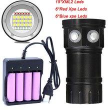 Duiken Zaklamp 18650 Torch Onderwater Fotografie Licht Video Lamp 15*5050 L2 Wit 6 * Rood 6 * Blauw LED Scuba Foto licht Invullen