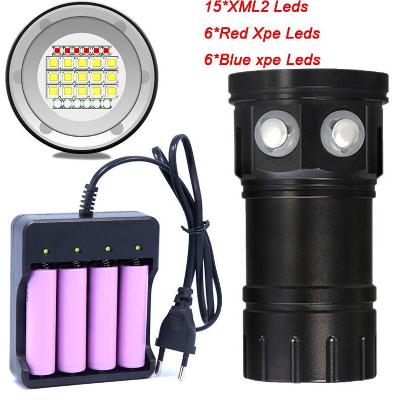 Lampe de poche 18650 torche photographie sous-marine lumière lampe vidéo 15*5050 L2 blanc 6 * rouge 6 * bleu LED lumière de remplissage de Photo de plongée