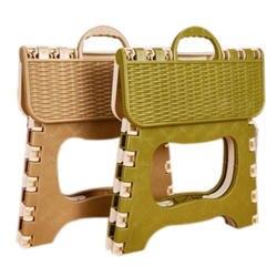 Пластик складной 6 Тип утолщаются шаг Портативный стул ребенка (зеленый, серый цвет случайный) 25*18*20 см