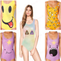 Women's Smile Face Swimsuits Cover Ups Sexy Bodysuit One Piece Swimwear Kawaii Smile Funny Smile Faces Bathing Suits Yellow