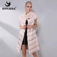 JEPLUDA New Fashion Natural Real Rabbit Fur Vest Mandarin Collar Full Pelt Patchwork Winter Real Fur Coat Women Real Fur Jacket
