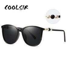 COOLSIR Women Polarized Sunglasses Elegant Beads Pearl Designer Ladies Retro Sun Glasses Female Fashion Mirrored Shades