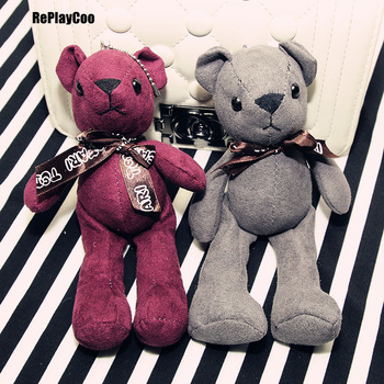 20Pcs/Lot New Teddy Bear Plush Toys Bears Toy Wih Chan By Handbag Pendant Bow Red And Grey Cute Gifts High Quality Stuffed