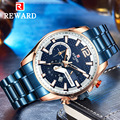 Награда часы мужские модные спортивные кварцевые часы мужские часы брендовые Роскошные полностью стальные синие водонепроницаемые часы ...