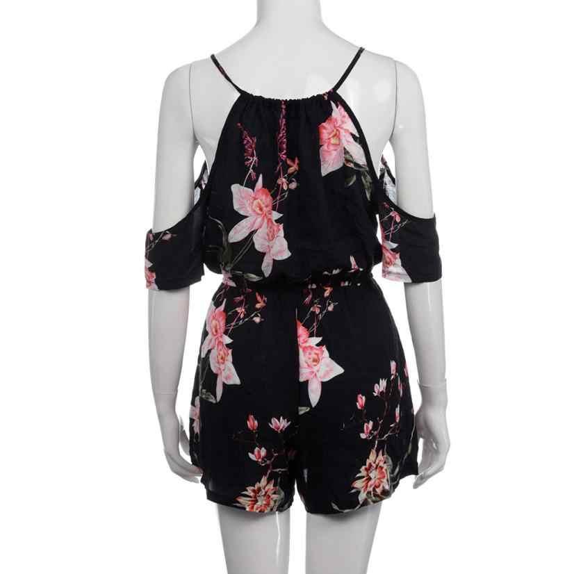 Feitong Liền Quần Cho Nữ 2017 Thường Ngày Playsuit Nữ Jumpsuit Body Feminino Mùa Hè Họa Tiết Hoa Nữ Rompers Clubwear XL # E0