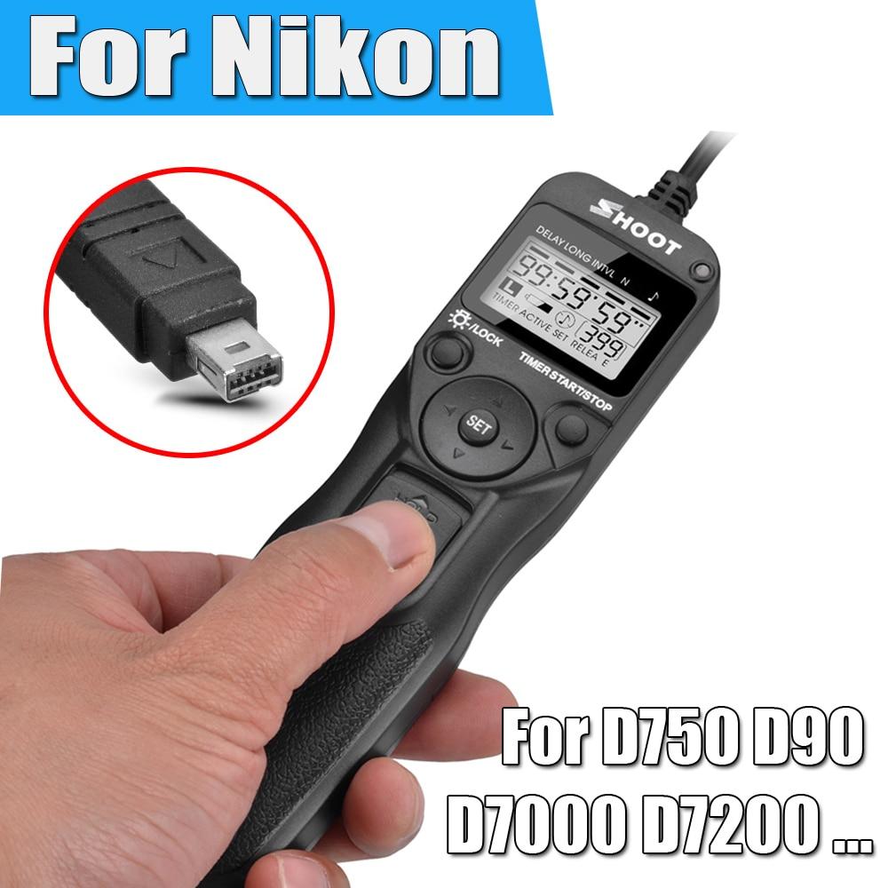Shoot Camera Timer Remote Control Shutter Release Cable Intervalometer for Nikon D750 D7100 D7000 D7200 D5100 D5300 D5200 P7700