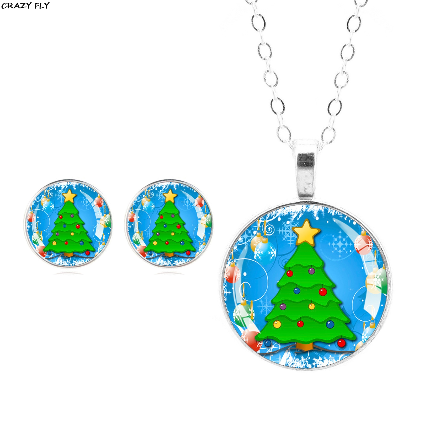CRAZY FLY New Fashion Women Christmas Tree Glass Stud Earrings Cabochon Pendant Necklace Jewelry Set Holiday Gift 2018