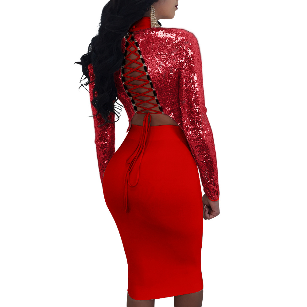 New O neck Full Elastic Waist Polyester Cotton Rushed Free Shipping 2019 Summer Sexy Sequins Two piece Long sleeved Skirt Suit in Women 39 s Sets from Women 39 s Clothing