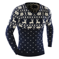 Beige Blue Sweater With Deer Printed V-Neck Long Sleeve Mens Sweaters Plus Size Patchwork Male Christmas Pullovers Jersey Hombre