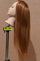 2014 New Golden Fiber Beautiful Hair Hairdressing Styling Training Model Female Mannequin Head Free Shipping