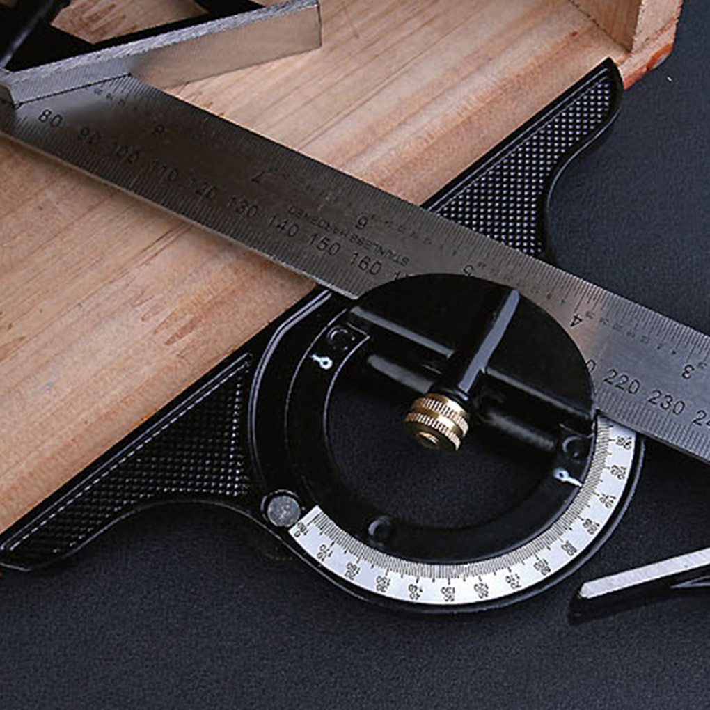 300mm/600mm Adjustable Combination Square Angle Ruler 45/90 Degree Multifunctional Gauge Measuring Tools