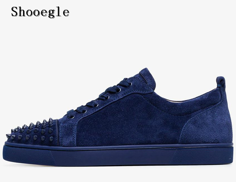 SHOOEGLE Fashion Luxury Spikes Men Shoes Rivets Casual Suede Platform Sneakers Mens Low Top Lace up High Quality Motorcycle Shoe - 4