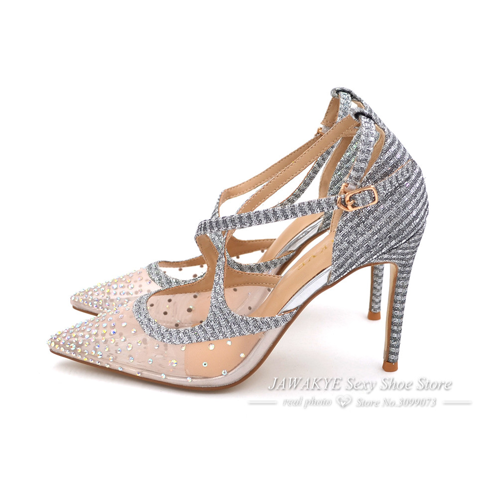 JAWAKYE High Heels Wedding Shoes Woman Cross belt Bling Glitter Sandals  Women Point Toe Mesh Crystal Silver Stiletto Women Pump a64e9d5188d9