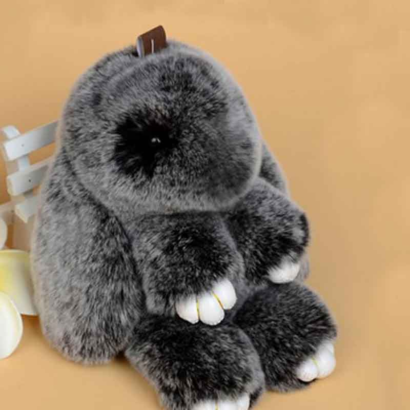 Cute Fluffy Rabbit Keychain Rex Genuine Bunny Fur Pompoms Key Chain Snow Frost White Fur Pom