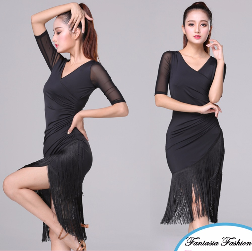 New Arrival Latin Dance Dresses For Ladies Red Black Color