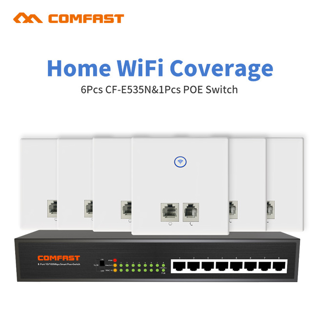 DHL Comfast For Home Wifi Coverage 6pcs Wall Embedded 86 Panel RJ11 RJ45 Wireless AP Router with 1 8 ports 10/100Mbp Poe Switch