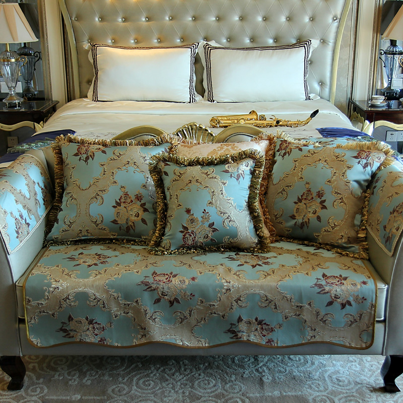 Blue Top Quality Fabric Sofa Covers Slipcovers Vintage Floral European  Style Four Seasons Fashion Couch Sofa Towels