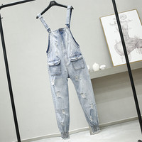 Spring Summer New Hole Jean Pants Female Lady Loose Should Strap Harlen Jeans Belt Pants Girls Nancylim Student Plus Size Jeans