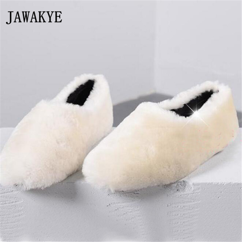 2018 Winter Wool Fur Flat Shoes Woman Round Toe Slip-on Warm Casual Shoes Women Fashion Snow Boots cute women winter snow boots slip on soft fur warm shoes candy color ankle boots woman round toe solid flat biker boots