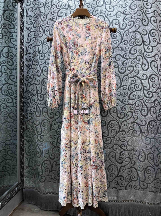 Summer 2019 new women s round collar water soluble embroidery tie in waist long sleeve dress