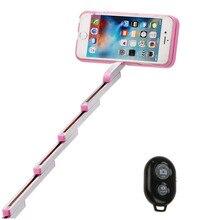 Selfie Stick Box Handheld Selfie Extendable Aluminum Case Built-in Bluetooth Remote For iPhone 6 6s plus 7 7 plus cover case