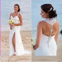 Sexy Halter Summer Beach Wedding Dresses Split Chiffon with Beading Summer Wedding Gowns Vestido De Novias Robe De Marriage