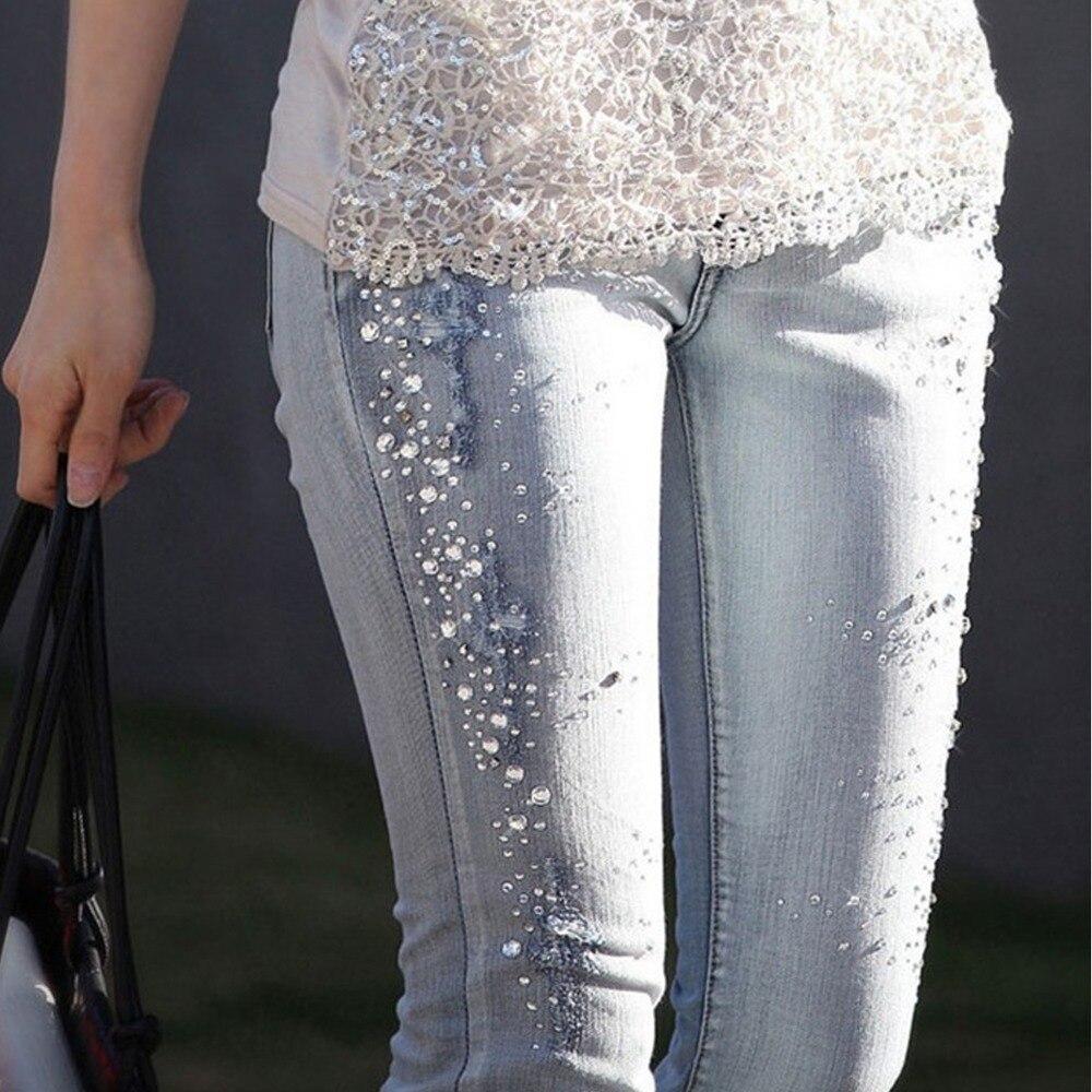 New Women Diamond Drilled Hole Jeans Woman Pencil Pants Women Jeans Ripped Denim Trousers With Rhinestone Denim Pants Woman