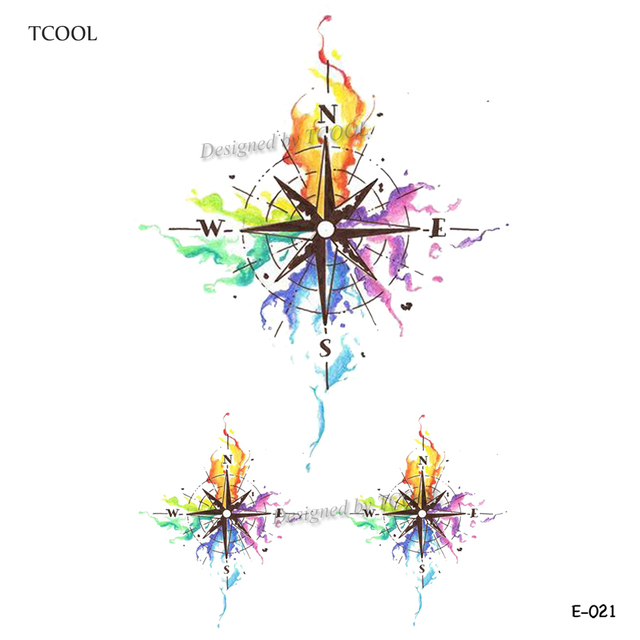 TCOOL Watercolor Compass Temporary Tattoo Sticker Waterproof Fashion Fake Body Art Arm Tattoos 9