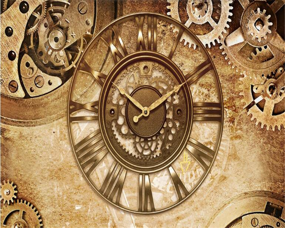 Beibehang Fashion Simple Home Decoration Painting Wallpaper Retro Gear Clock Background Wall Papel De Parede Paper Behang In Wallpapers From