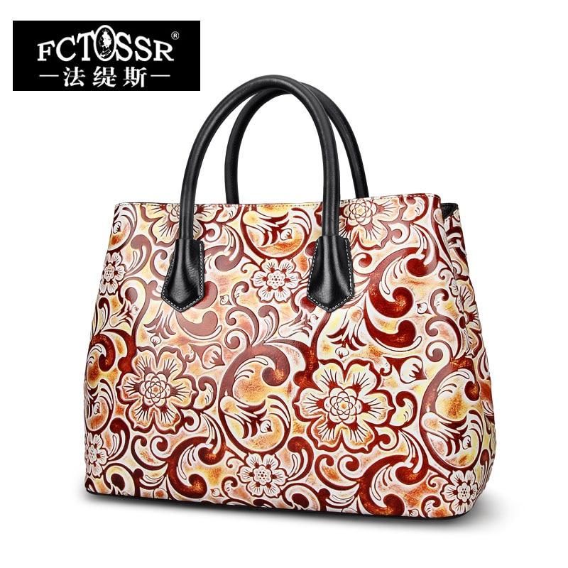 Women's Bag Handmade Genuine Leather Handbag Hand Paint Flower Lady Messenger Bag Fashion Cow Skin Leather Shoulder Sling Bag