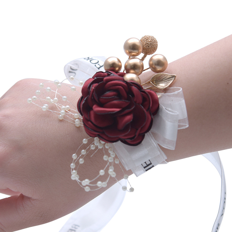 Wedding Corsage Hand Hand Corsage Flowers Flower Bracelet For Bridesmaids Wrist Corsages Accessories Wedding Hands Corsage