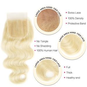 Image 4 - Black Pearl 613 Bundles With Closure 100g/Pcs Brazilian Body Wave Remy Human Hair Weave Blonde Bundles With Closure