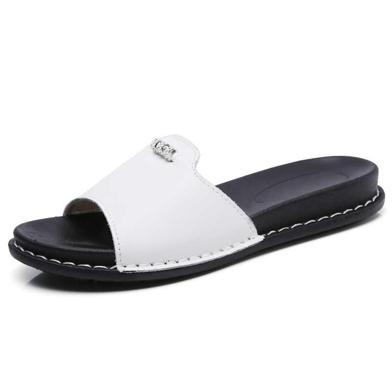 6de17da03 ... BeckyWalk Summer Women Slippers Flat Sandals Beach Shoes Women Flip  Flops Genuine Leather Slides Flat Mules ...