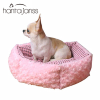 Dog House Dogs Beds For Small Dogs Cats Cushions Mats Soft Material Padded Pink Round Beds Pet House Chihuahua Supplies